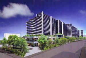 綱島街道の日吉側から見た計画地の景観予想図、当初より建物の色合いが変化している(景観審査部会への提出資料より)