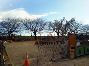 3月下旬まで工事が行われている鏡ヶ淵公園