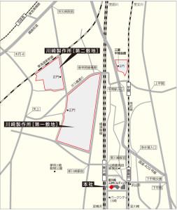 三菱ふそう川崎工場(川崎製作所)の位置図、第二敷地は元住吉駅に近い位置にある(同社サイトより)