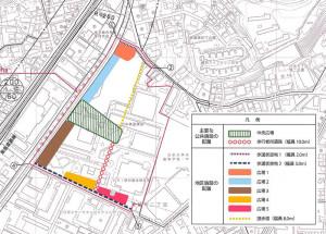 地区計画における広場や歩行者用通路などの位置図(横浜市が公表した「計画図2」を加工して掲載)