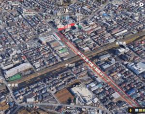 高田駅前から早渕川を越え、新吉田東3丁目を縦断する道路が建設されている