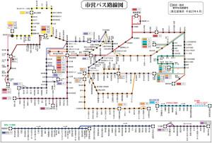 港北営業所管内の路線図