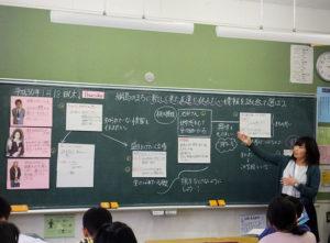 今回の「総合的な学習」を進行してきた担任の山本美桜さん。子どもたちに語りかけながら、分かりやすく授業を進行していた(2018年1月18日)