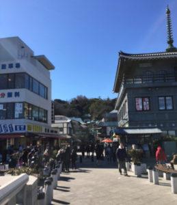 2017年2月は江の島へ。懸垂式のモノレール乗車や鎌倉、江戸、そして明治時代の歴史もたどれるスポットが点在するなど、フィールドワークには最適な場所という(ひよし塾提供)