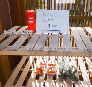 園児の親が働く農家の野菜も直売している