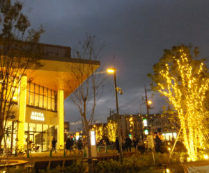 初ライトアップされたアピタテラス横浜綱島店。北綱島交差点方面の出入口および綱島街道沿いを温暖色のイルミネーションで明るく照らしている