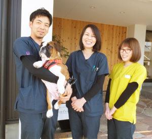 ブルドックの「あこちゃん」は、同院の治療を受けにやってきたことから看板犬に。「犬が好きで、獣医師になるのが夢でした」と語る院長の鈴木さん