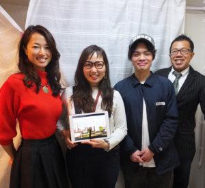 いよいよACTグループの2店舗「美容室ACT」と「ACT ZIP」が新ビルに移転オープン。写真左から川村幸緒さん、高瀬千夏子さん、平安座育海さん、内田敏夫さん