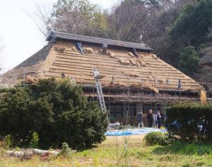 22年ぶりの茅葺き屋根の「葺き替え」が行われている綱島台の「飯田家住宅」主屋(1889年建築、2019年2月24日)