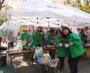 桜まつりは港北区役所・観光協会や港北土木事務所、公園愛護会や横浜市花と緑の協会も後援。地元の花ボランティアによる花と緑のブースも(2018年3月)