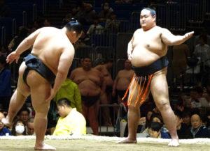 今年4月に横浜アリーナ場所で行われた「横浜市港北区出身」の力士・鳩岡さんも綱島子どもすもう大会で育った一人(2019年4月27日)