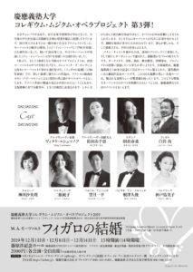 「フィガロの結婚」公演の案内チラシ裏面。前回(ドン・ジョバンニ)のキャスト7名のうち、6人が再び参加することに(主催者提供)