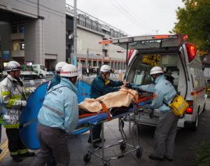 救急搬送のシュミレーションも行われました