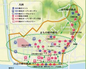 「つなつなプロジェクト」の緑化計画図。丘、まち、そして川辺を3つの「緑の拠点」とし、花と緑、そして人でつなぐ計画(フローラルつなしま提供)