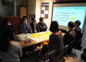 日吉中央通り事務局(株式会社エヌエステート内)で行われた横浜市商店街フィールドサーベイ事業の冒頭部。総勢16人が参加し、日吉の商店街の現状の課題を共有、これからの日吉の街の未来について語り合った
