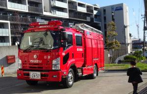 日吉消防出張所に停められた消防車