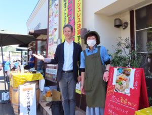プロジェクトを企画した「お酒のアトリエ吉祥」(リンクは同店公式サイト)を運営する株式会社よつやの安富さん(左)、4月から出店している「発酵スープカレーミコヤ」の三古谷さん(5月8日13時頃)