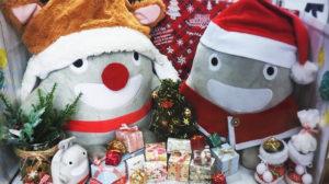 2018年12月、クリスマス・シーズンに初めてアレンジされた「のるるん」たち(東急日吉駅提供)