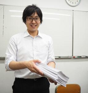 玉田さんと「高校時代からの同級生」というつながりを持つ有久さん。子どもたちの質問に、1000枚もの回答(写真)を用意し、スキャン後送信したという