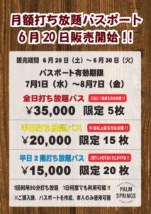6月20日(土)から6月30日(火)まで先着順で発売される「月額打ち放題パスポート」の案内チラシ(パームスプリングス提供)