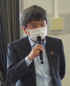 日吉商店街協同組合(日吉商店街)の重田専務理事も、自身の店舗「リカーショップ重田商店」にマスクの回収ボックスを設置した