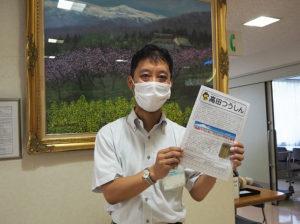 開所時から「高田つうしん」の発行に携わってきた所長の土屋さん。現在は1000部印刷・発行し、高田エリアで配布している