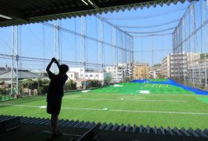 新しく生まれ変わった日吉5丁目のゴルフ練習場「パームスプリングス(PALM SPRINGS)」(8月29日8時40分頃)