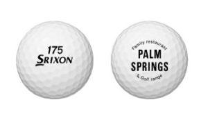 練習球は「パームスプリングス」オリジナルのロゴ入りスリクソン(SRIXON)に総入れ替え予定(同練習場提供)