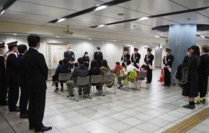 駅務管理所の大谷所長が「東急線の街に新たにやってきた」グリーンライン開業当時を思いおこしつつ、作品応募への感謝の言葉と、これからも頑張りたいという決意を述べていた