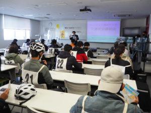座学の講習会も開講。「自転車保険も見直さなければ」との受講者からの声も