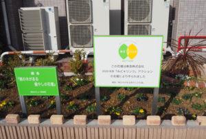 東急みどリンクの支援により、新しい「桃の木のある癒(いや)しの花壇」に生まれ変わった(11月30日)
