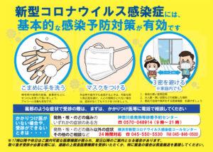 横浜市健康福祉局は、今年(2021年)1月から「新型コロナウイルス啓発ポスター」に市コールセンターの相談体制が変更となった点などを盛り込むなどの改訂を行い感染予防を呼び掛ける