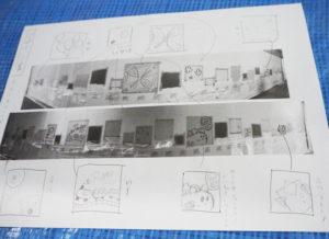 生徒たちが描いた地下道を彩るイラストのデザイン画。台中のマスコットキャラクター・ネズミの「だいチュー」の姿も