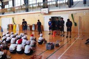 三上さんが心に残ったという、港北区内の小学校への「ラグビー出張授業」(2019年11月、大曽根小学校)