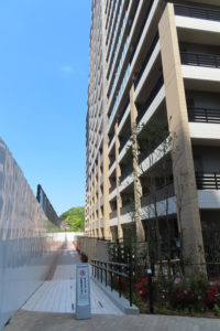 再開発地の中央から綱島街道側を眺めて、新たに通行が可能となった通路。中央広場側(左手)にはまだ囲いがある。右手は入居が始まったレジデンスⅡ