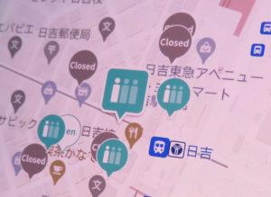 スマートフォン(スマホ)で見る、店舗の空き状況や混雑状況を表示する「バカンマップス(VACAN Maps)」。予め店舗側が開店・閉店時間や事前に把握した混雑予想を設定しておくこともできるという